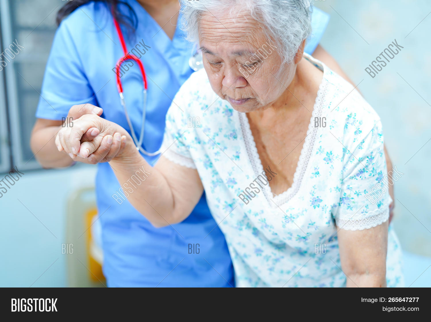 Asian Nurse Physiotherapist Doctor Care, Help And Support Senior Or Elderly Old Lady Woman Patient G