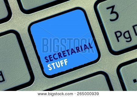 Conceptual hand writing showing Secretarial Stuff. Business photo text Secretary belongings Things owned by personal assistant stock photo