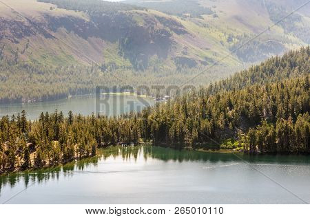 Overlooking Laky Mary and Lake George in Mammoth Lakes, California stock photo