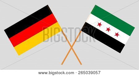 Crossed Syrian National Coalition and Germany flags. Official colors. Correct proportion. Vector illustration stock photo