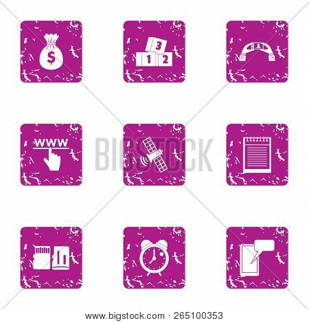 Cash attention icons set. Grunge set of 9 cash attention icons for web isolated on white background stock photo
