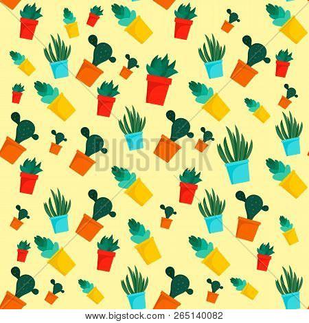 Cactus pattern. Flat illustration of cactus pattern for web design stock photo