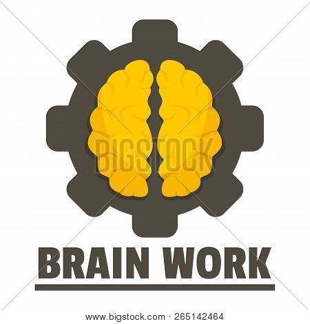 Logic brain work logo. Flat illustration of logic brain work logo for web design stock photo