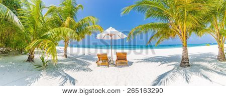 Fantastic beach panorama. Relaxing beach, tropical landscape background. Summer vacation travel holiday design. Luxury travel destination concept. Inspire beach nature, travelling tourism banner stock photo