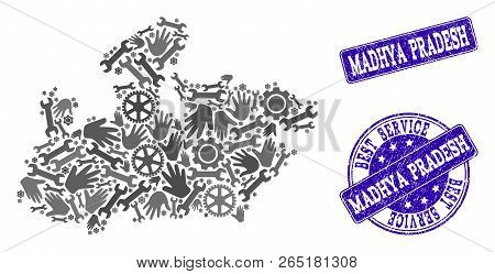 Best service collage of mosaic map of Madhya Pradesh State and blue rubber seals. Mosaic map of Madhya Pradesh State designed with gray gears and wrenches. stock photo