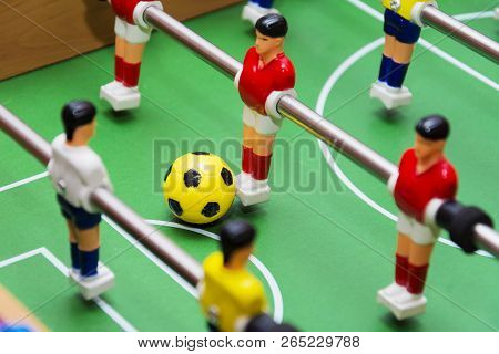 table football soccer game, close up, yellow ball. stock photo
