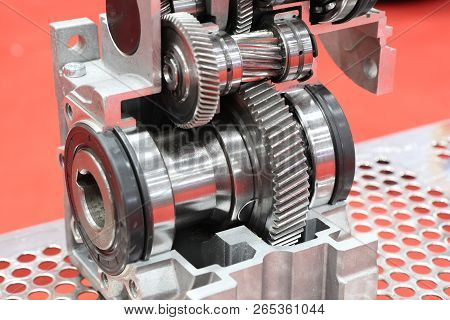 cross section of worm gear pump ; selective focus stock photo