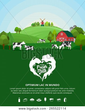 Vector milk illustration with rural landscape, cows, calves and farm. Modern style milk label. Dairy farm icons and design elements. stock photo
