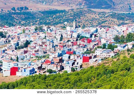 Blue medina of the Chefchaouen panoramic view from mountain viewpoint, Morocco in Africa. stock photo