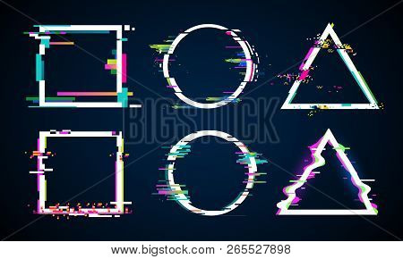 Distorted glitch frame. Glitched circle, square and triangle frames. Music distortion logo vector elements set stock photo