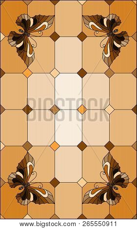 Illustration in stained glass style with  butterflies on a segmented window background, tone brown, sepia stock photo