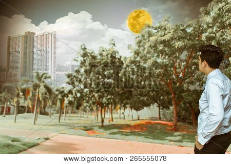 Man standing in the garden with moon, clouds, sky and City buildings  In the capital Metaphor progress of evolution stock photo