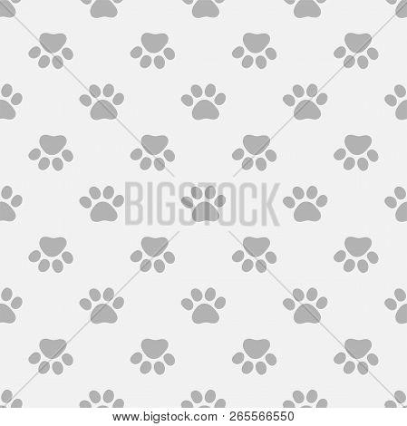 Seamless pattern with paws footprints. Pets footprints. stock photo