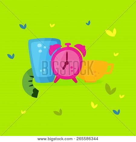 Intermittent fasting. The concept of losing weight. Slimming and its benefits. Vector cartoon. stock photo