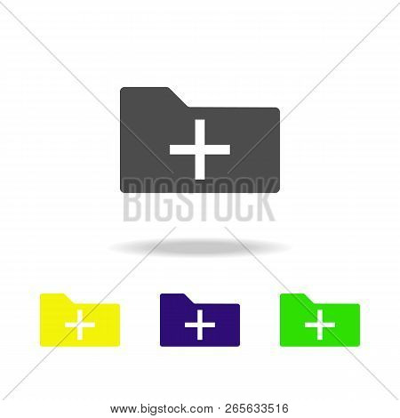 add folder icon multicolor icon. Element of web icons.  Signs and symbols icon for websites, web design, mobile app on white background with shadow stock photo