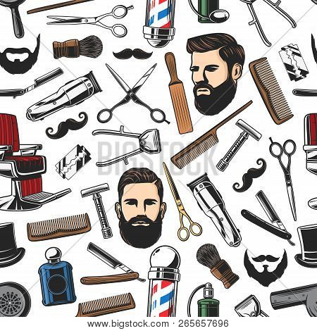 Barbershop salon items and man haircut, beard shaves pattern background. Vector seamless pattern of barber shop pole, scissors or trimmer and brush with razor, mustaches and comb stock photo
