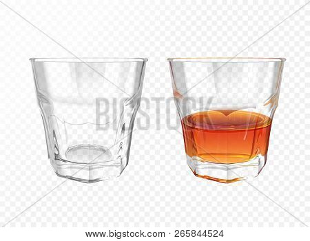 Whiskey glass 3D illustration of realistic crockery for brandy or cognac and whisky. Isolated transparent empty and half full glassware mockup template models set stock photo