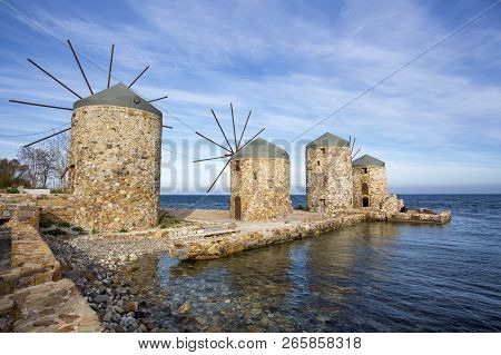 Greece island; Chios island historical windmill. Travel concept photo. stock photo