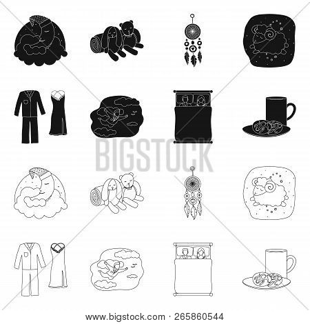 Isolated object of dreams and night logo. Collection of dreams and bedroom stock symbol for web. stock photo