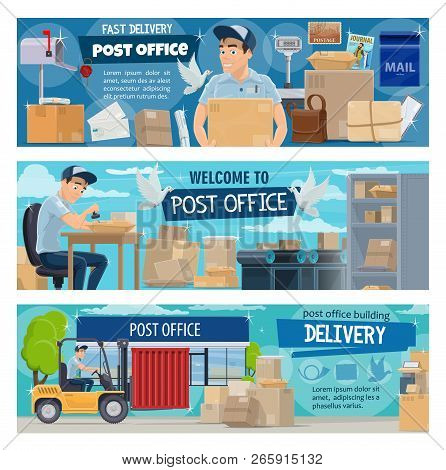Post office, postal delivery service. Vector postman cartoon character working at counter with parcels, paper boxes and letters, mail sacks, packages and correspondence stock photo