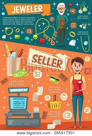 Seller and jeweler jobs vacancies of supermarket cashier, goldsmith, saleswoman. Woman vendor, cash register and money, man jeweller, diamond and jewelry. Retail business work opportunity, vector stock photo