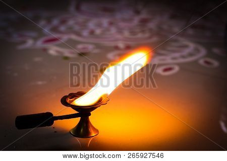 multi flame lamp panchapradip as an offering to god for worship stock photo