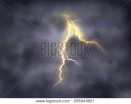 realistic illustration of bright thunderbolt, lightning strike in clouds on night background. Thunderstorm with electric discharge on dark sky, bad weather, dangerous natural phenomena stock photo