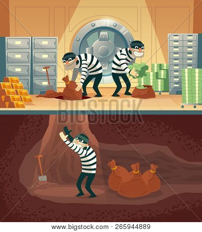 cartoon illustration of bank robbery in safety vault. Three thieves stealing gold, cash and throwing bag, sack with currency into undermining. Storage security concept against criminals stock photo