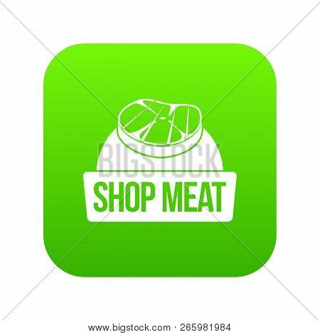 Shop meat icon green isolated on white background stock photo