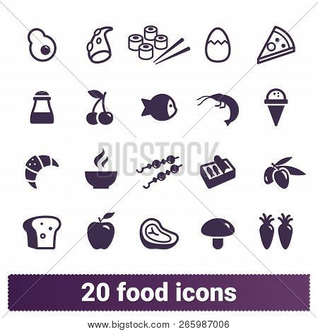 Food, restaurant dishes, yummy meals vector icons set. Pictogram collection of served dishes, food, pastries and drinks. Isolated on white background. stock photo