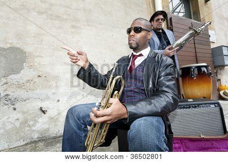Bande de musiciens de blues