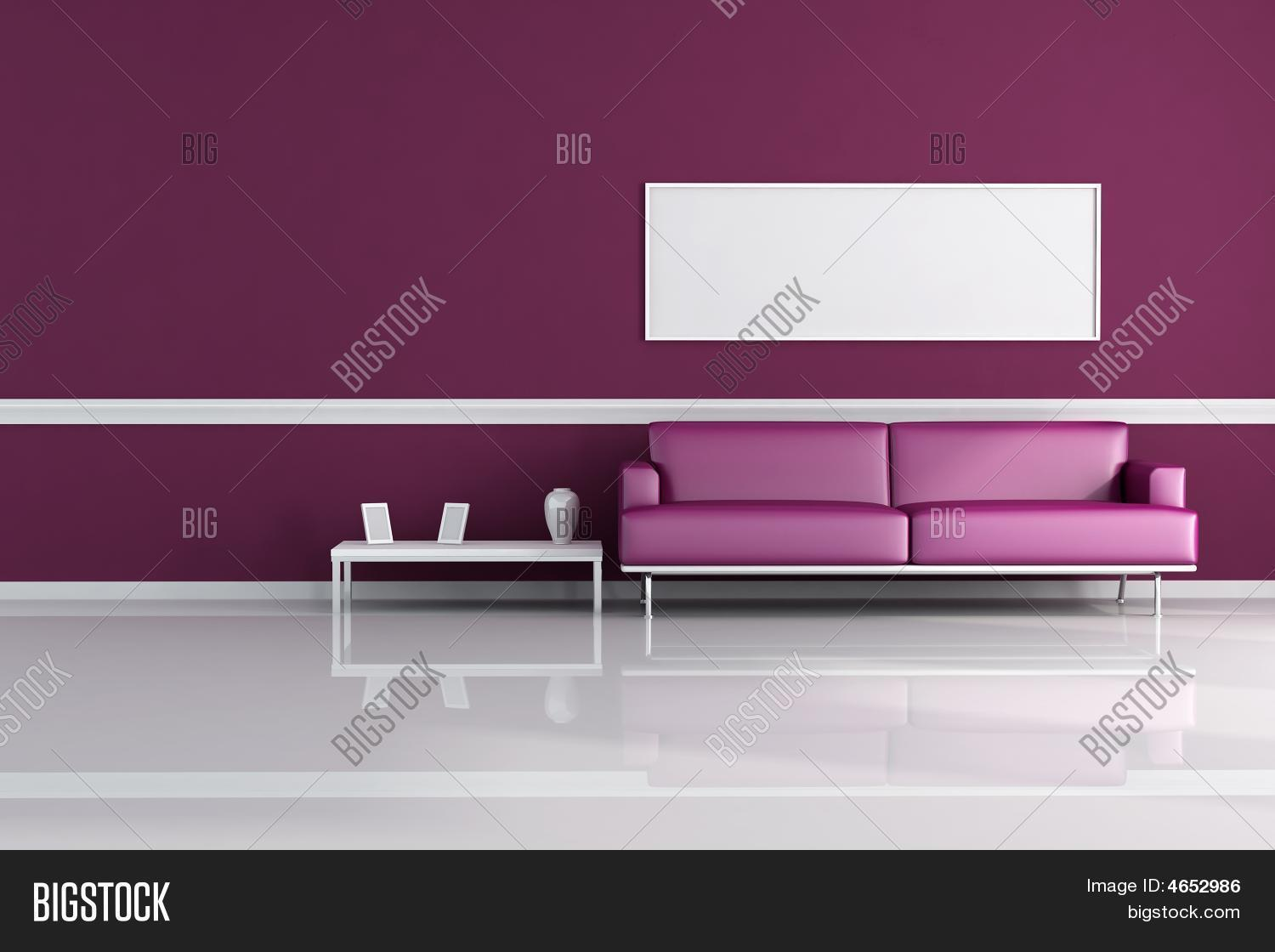 purple living room with modern sofa and blank canvas