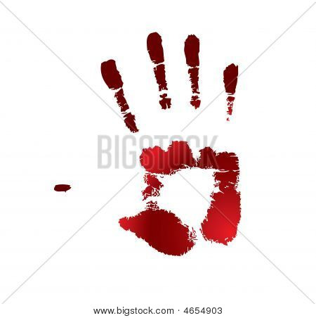 One red handprint on a white background stock photo