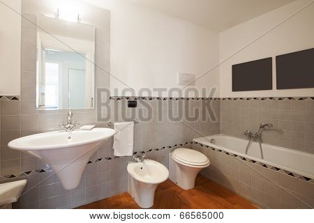 Interior of modern apartment, bathroom stock photo