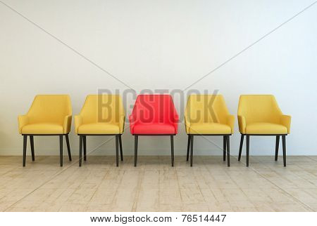 3D Rendering of Row of yellow empty chairs aligned against a grey wall of a lobby or a waiting room,