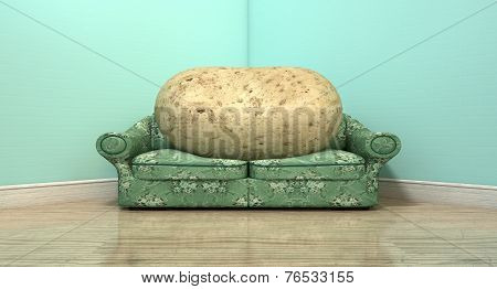 A literal depiction of a potato sitting on an old vintage sofa with a floral fabric in the corner of an empty room with light blue wall and a reflective wooden floor stock photo