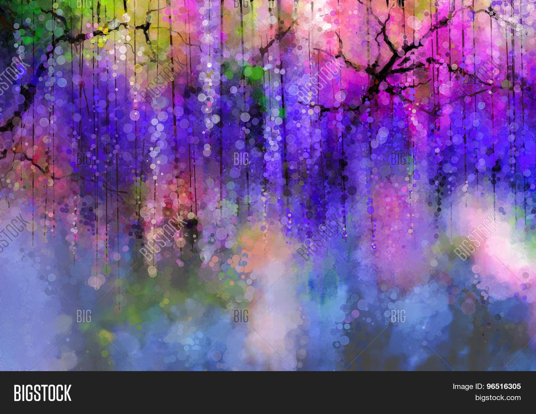 Spring Purple Flowers Wisteriawatercolor Painting Photo Stock
