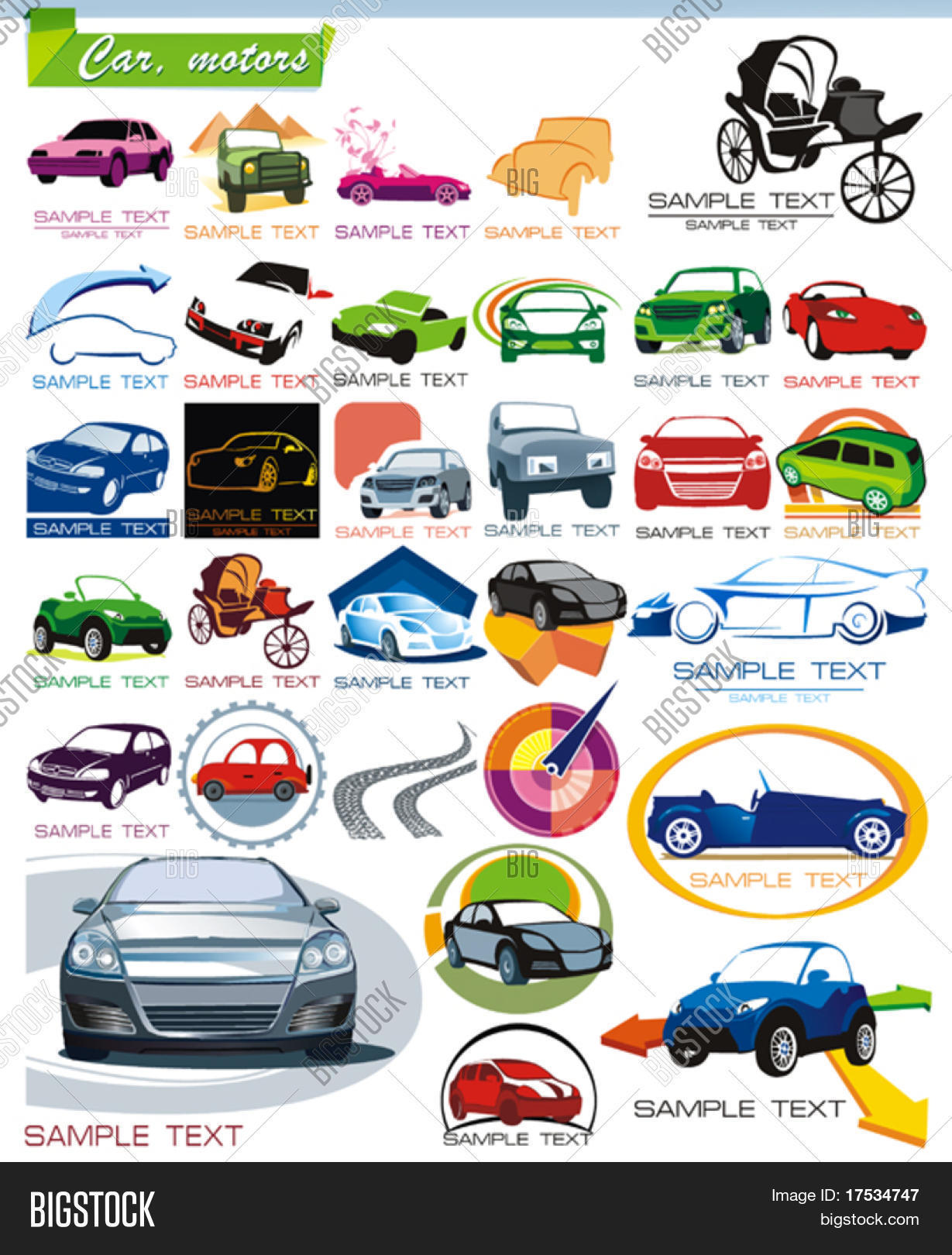 Collection 7 Exclusive Series Of Auto Motors And Car Icon Set