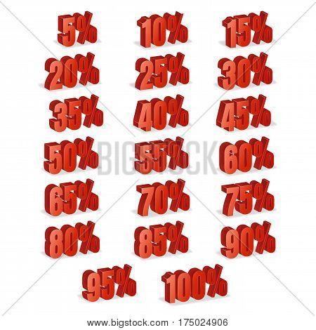 Discount Numbers 3d Vector. Red Sale Percentage Icon Set In 3D Style Isolated On White Background. 10 percent off, 15 off and 20 percent off discount stock photo