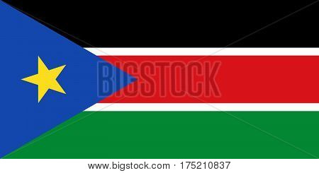 Official vector flag of Republic of South Sudan . stock photo