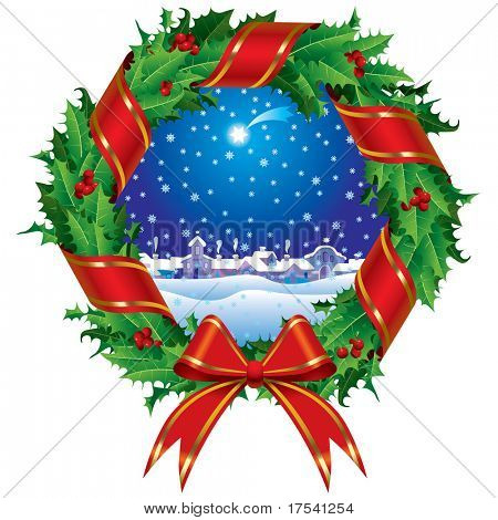 Raster version of vector holly wreath with a city view (contain the Clipping Path of the wreath) stock photo