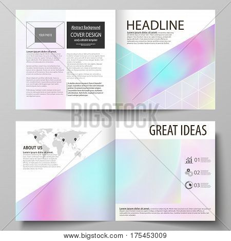 Business templates for square design bi fold brochure, magazine, flyer, booklet or annual report. Leaflet cover, abstract flat layout, easy editable vector. Hologram, background in pastel colors with holographic effect. Blurred colorful pattern, futuristi stock photo