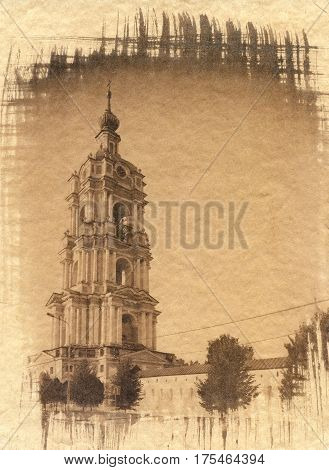 Belfry of the Novospassky Monastery in Moscow. Russia. Attention: when viewing in large size you can see the texture of the watercolor paper on which this handmade photo is printed. Analog printing. The image is made according to the old technologies of t