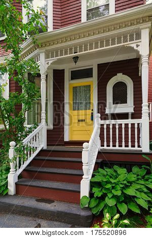 Front entrance on an older North American home. stock photo