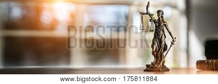 The Statue of Justice - lady justice or Iustitia / Justitia the Roman goddess of Justice stock photo
