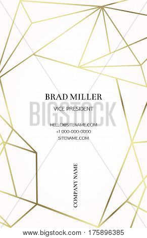 Pink business card with a geometric pattern. Gold polygonal texture. Corporate identity template in trendy colors with geometric shapes for modern cute romantic design. Art deco style.Vector. EPS 10 stock photo