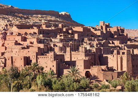 Ait Ben Haddou (or Ait Benhaddou) is a fortified city near ouarzazate in Morocco. Ait Ben Haddou is a great example of earthen clay architecture. stock photo