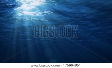 Underwater background. Blue Underwater with ripple and wave lights. stock photo