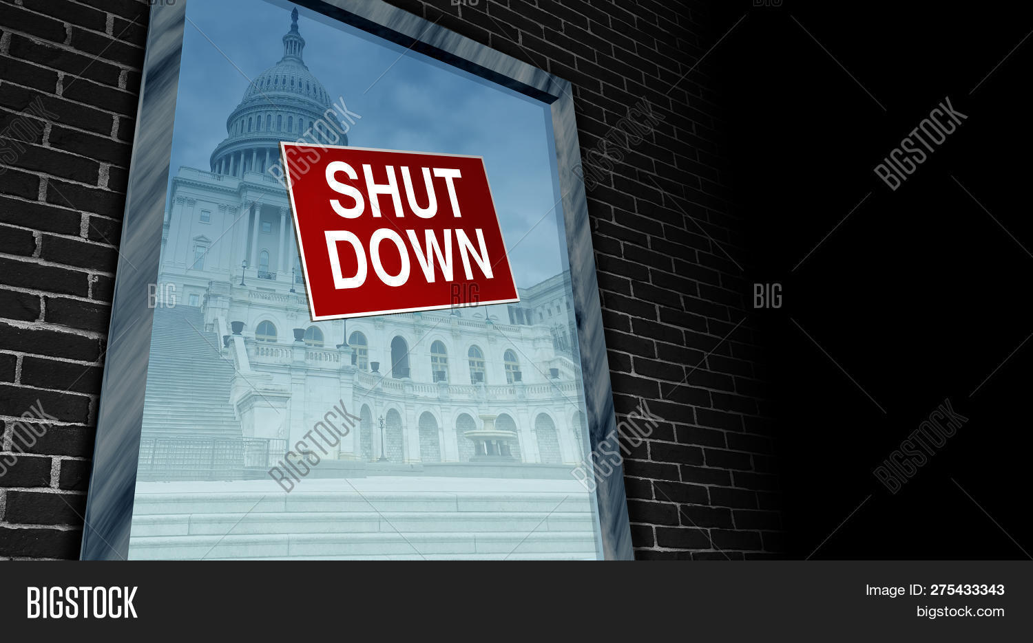 Government shutdown and USA closed and american federal shut down due to spending bill disagreement between the left and the right pas a national finance symbol with 3D illustration style.