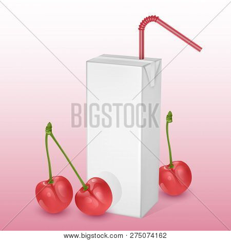 The carton packages of Milk or juice, isolated on light background. carton packages with cherry juice, White pack Mockup, vector illustration of Realistic template stock photo